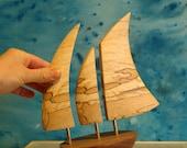 Small Galway Hooker Balancing Boat wooden sculpture -Irish Spalted Beech&Walnut -FREE Christmas Gift Box -Free delivery Ireland-byRebornart