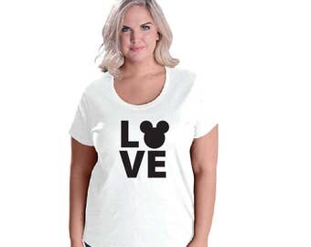 Love Mickey. Disney Womens. Ladies Curvy Scoop Neck Tee. Plus Size