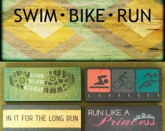 "Race Medal Holder /  Race Medal Hanger. ""Swim Bike Run"" Wood Wall Mounted Wood Organizer. CUSTOMIZATION Available"