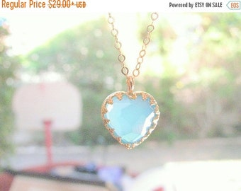 SALE - Opal necklace - Heart necklace - Turquoise necklace - Gold opal necklace - Heart opal necklace - gold filled necklace, Valentines day