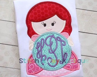 Princess Ariel Inspired Monogram - Princess Movie - Custom Tee 2034