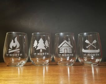 Up North Cabin Stemless Wine Glass - Set of 4