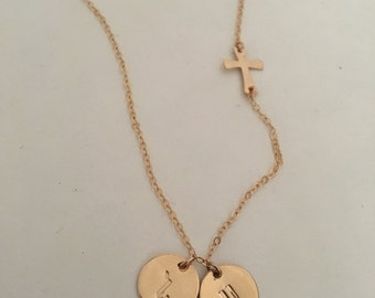 14K Goldfilled Cross and Initial Necklace, Armenian Initial Necklace, Engraved Letter Necklace,  Armenian Initial Necklace  with Cross