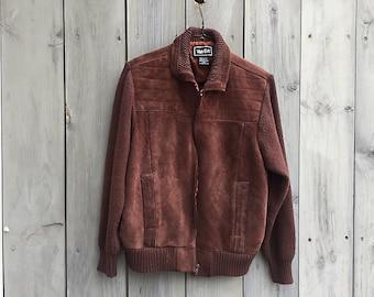 Vintage jacket   1970s Van Cort chocolate brown suede and knit zip-up jacket