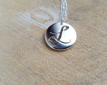 L Initial Necklace Pendant Silver Monogram Personalised