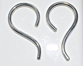 8 Gauge .999 Fine Silver Swoop Earrings