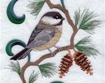 Maine State Bird Chickadee Embroidered Towel | Flour Sack Towel | | Dish Towel | Kitchen Towel | Hand Towel | Embroidery