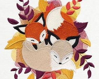 Cuddle Foxes Embroidered Towel | Flour Sack Towel | Linen Towel | Dish Towel | Kitchen Towel | Hand Towel | Embroidery | Fox Decor