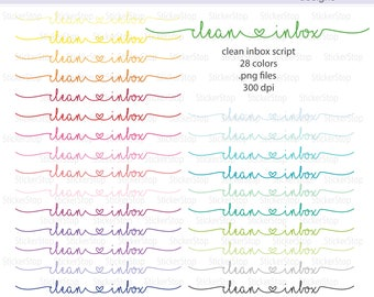 Clean Inbox Script Icon Digital Clipart in Rainbow Colors - Instant download PNG files