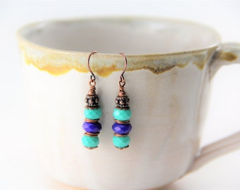 Turquoise and Royal Blue Copper Earrings