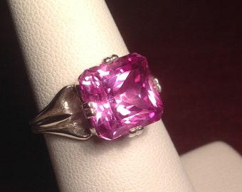 Pink Sapphire Square Cut Solitaire Ring Sterling Silver Scalloped Edge