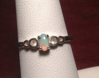 Solid Opal Ring Dainty Oval Cabochon Solitaire Sterling Silver
