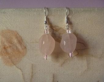 pink dangle earrings, ecofriendly drop earrings