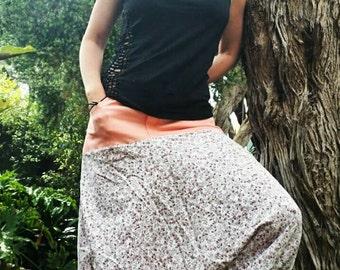 Boho floral gypsy pants/ festival/ bohemian/upcycled harem pants. Size 16.