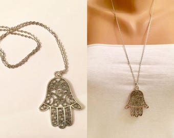 Silver Plated Hamsa Charm, Antique Silver Hamsa Hand Necklace, Silver Necklace, Fatma Hand, Boho jewelry, Protection pendant, Luck Charm Gif
