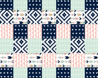 Navy,Pink, Mint and Tan Woodland Crib bedding, faux patchwork,Toddler Blanket, Baby Quilt, Toddler Quilt, woodland blanket, girl blanket