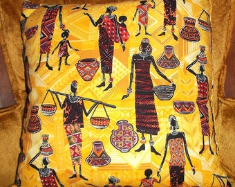 African Throw Pillow Black Women and Children