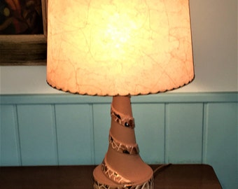 MOSAIC pattern bottle LAMP Mid Century MODERN tan with gold accents late 1950s