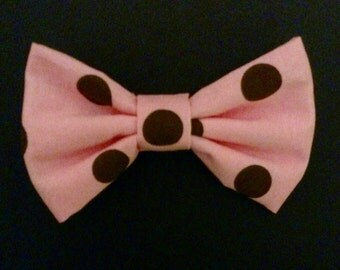 Baby Pink with Brown Polka Dots