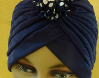 Dressy Navy Blue Chemo Turban with Satin Polka Dot  Flower with Pearl and  Rhinestone Pin,