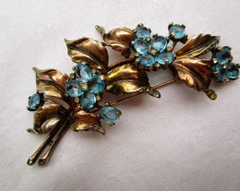 Crown Trifari Sterling Silver Vermeil Fur Clip Pin Brooch Flowers Leaves Aquamarine Color Stones Alfred Philippe