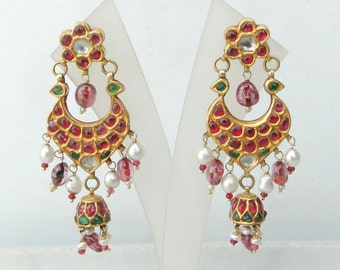 Vintage Antique 20 Carat Gold Gemstone Dangle Earring Pair South India