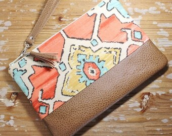 Coral and Aqua Tribal Fabric Clutch/Wristlet with Vegan Leather Trim