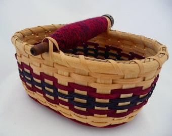 "Antique Vintage Spool Bobbin Table Basket - ""Poppy"""