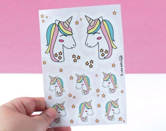 Unicorn Sticker Sheet - Stickers  - Pink