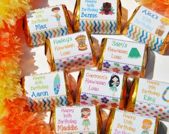 Hawaiian Luau Favors - Hershey Nugget Stickers - Personalized Hawaiian Luau Favors - Hawaiian Luau Party Favors -  Nuggets - Tropical Favors