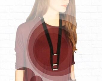 Knit Black Necklace. Minimalist necklace. Multi Strand Necklace. Knitted necklace. Minimalist jewelry. Modern jewelry
