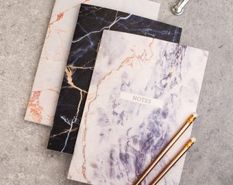 Mothers Day Stationery gift - Marble Notebooks - set of three, - marble pattern, gift for mum, friend, paper goods, stationery addict, notes