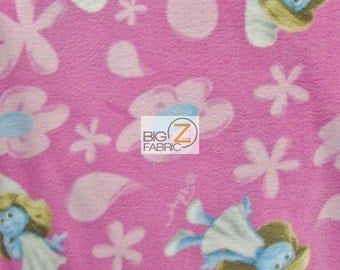 Smurfs Smurfette Toss Pink By VIP Cranston Fleece Printed Fabric - By Yard (FH-271) Christmas