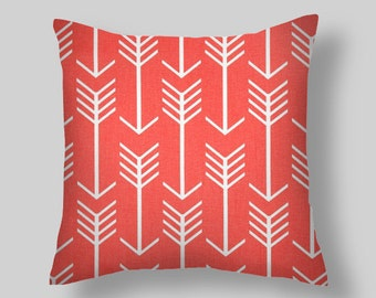 coral pillow coral throw pillow pillow cover coral pillows arrows pillow