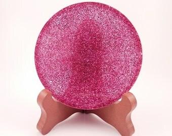Fuchsia Glitter Handmade Resin Coaster FI0291