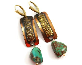 Vintage Turquoise Earrings - Vintage Modern - Turquoise Earrings - 1-3/4 Inches