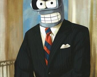 Futurama Bender for President Bender as Ronald Reagan President Poster