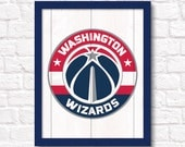 """Washington Wizards rustic wall sign - Boys room or man cave decor 16""""x20"""" handmade sign - DC sports fan gift - Fathers Day gift for Dad"""