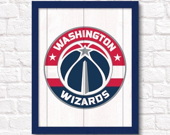 "Washington Wizards rustic wall sign - Boys room or man cave decor 16""x20"" handmade sign - DC sports fan gift - Fathers Day gift for Dad"