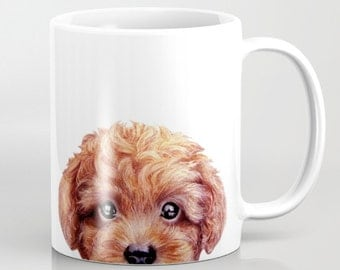 Toy Poodle,Reddish brown printed on both side, MUG 11 OZOriginal painting design by Miart,