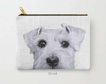 schnauzer white Dog illustration design,  Shibainu, print on both sides, carry pouch