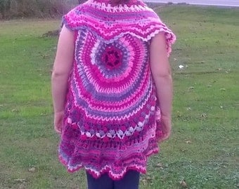 Tween Sized Crochet Pink Dreams Bohemian Style Circle Vest