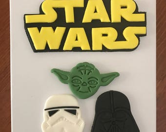 Star jedi Wars Fondant cake topper set