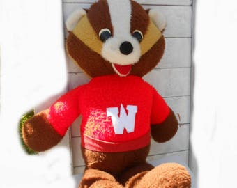 Vintage Bucky Badger Plush University of Wisconsin Madison Mascot College Sports  NCAA badgers football basketball