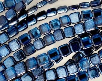 CzechMates Two Hole Mirror Denim Tile Glass Beads - 50 Beads - Mirror Denim Czech Glass Tile Bead - 3596 -  Mirror Tile Beads- Dark Blue
