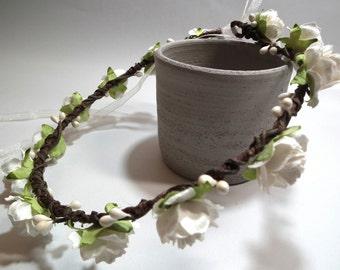 Ivory White Rose Floral Crown/ Head Piece/ Traditional/ Bridal/ Wedding Hair Accessories/ Bridesmaid Hair Piece/ Wedding Flower Crown