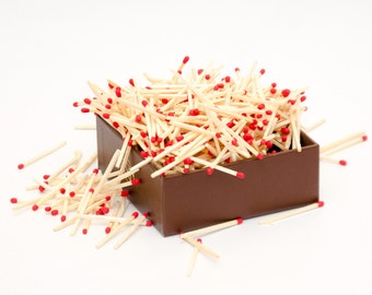 Red tip wooden matches for matchhouse making, matchbox filling, crafts