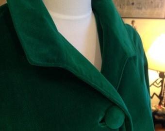 Vintage 1950's La Sport Christmas Holiday Green Velvet Coat