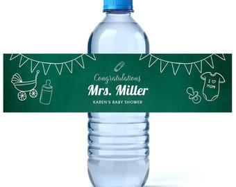 Teacher Baby Shower Water Bottle Labels - Baby Shower Favors - Baby Shower Labels  - Water Bottle Labels - Baby Shower Water