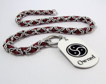 Collar in Red and Silver with Ring Clasp and Owned Dog Tag - Handmade Slave Day Collar - Byzantine Chainmaille Animal Kitten Pup Furry Play